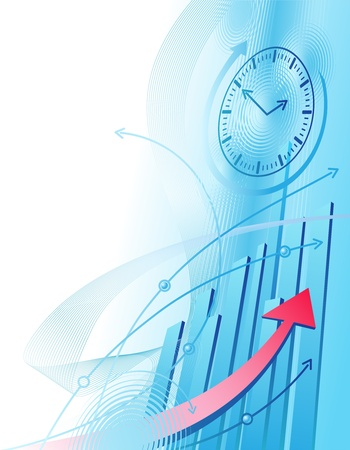 tendency: Abstract illustration with clock and business chart Illustration