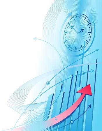 Illustrazione astratta con orologio e business chart Vettoriali