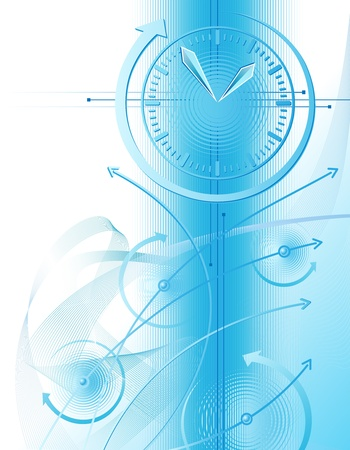 document management: Abstract illustration with clock and business chart Illustration