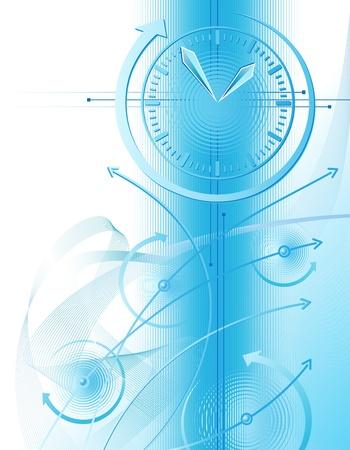 gestion documental: Ilustración abstracta con gráfico de reloj y negocios