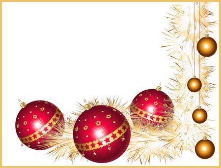 Red and gold Christmas balls with stars and a sparkling tinsel Stock Vector - 11140803