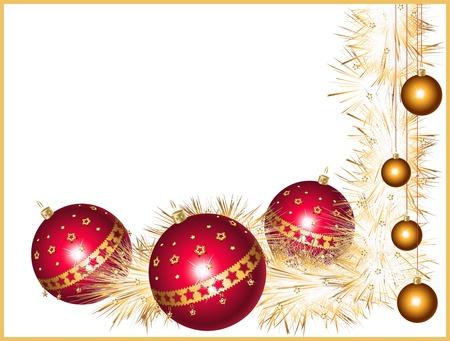Rosso e oro palle di Natale con stelle e orpelli frizzante