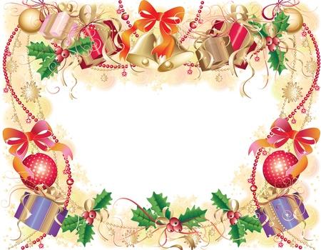Fondo oro con simboli di natale (palline, campane, agrifoglio e confezione regalo)