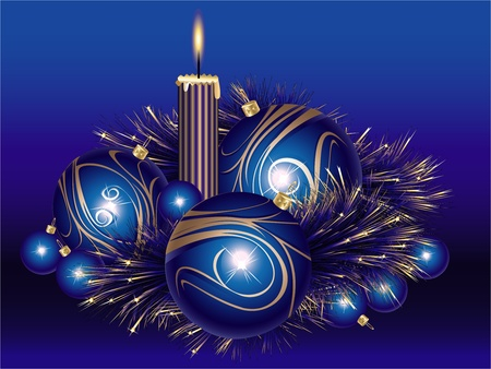 Blue and gold Christmas balls with tinsel and candle