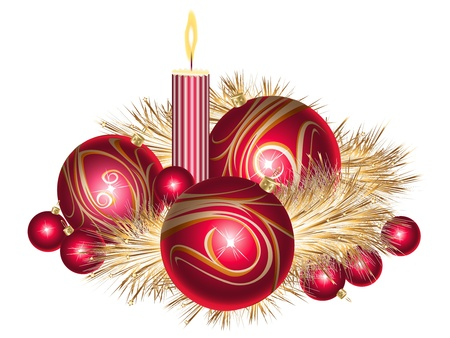 Rosso e oro palle di Natale con orpelli e candela