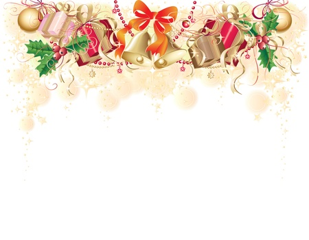 aquifolium: Gold background with christmas symbols (balls, bells, holly and gift box) Illustration