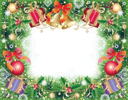 Sfondo verde, oro e rosso con simboli di Natale - palle, campane, holly e regalo scatola