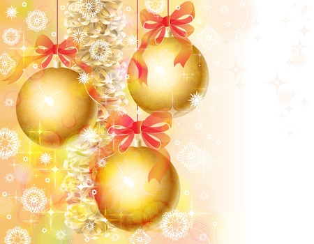 Christmas background with bells and gold tinsel