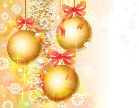 Sfondo di Natale con campane e orpelli d'oro