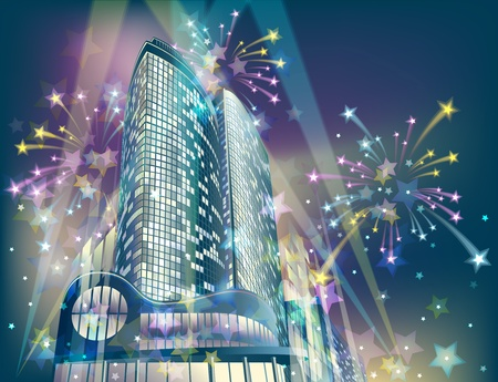 Night background with modern city buildings and holiday fireworks
