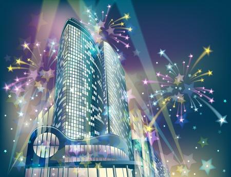 Sfondo notte con edifici della citt� moderna e fuochi d'artificio vacanza