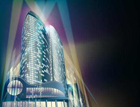 Un moderno grattacieli si trova nel paesaggio urbano astratto notte