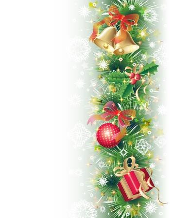 Verde, fondo oro e rosso con i simboli di natale (palline, campane, agrifoglio e confezione regalo)