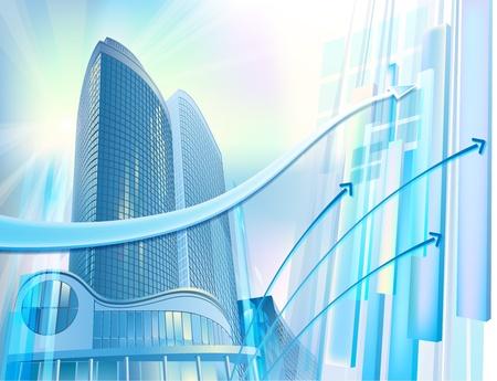 commercial real estate: Un moderno rascacielos se encuentra en el paisaje urbano abstracto