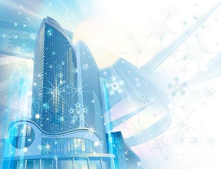 commercial real estate: Invierno de fondo con modernos edificios de la ciudad y los copos de nieve Foto de archivo