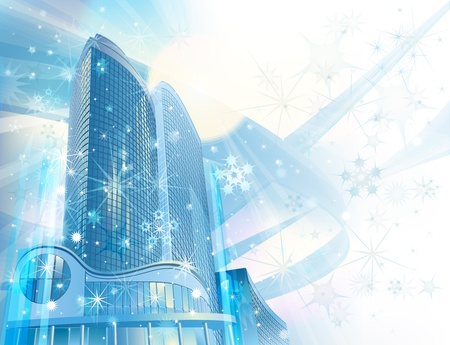 futuristic city: Winter background with modern city buildings and snowflakes