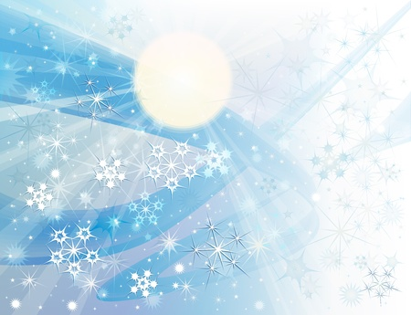 Background with blue winter sky and falling snow Stock Photo