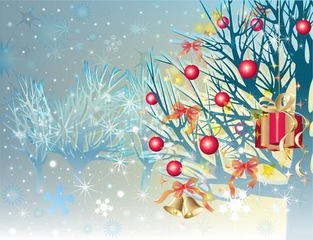 Alberi innevati con le palle di Natale, campane e confezioni regalo