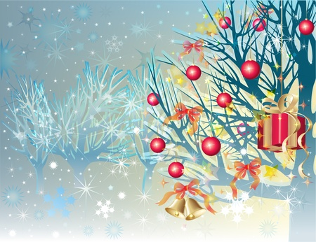 Snowbound trees with christmas balls, bells and gift box photo