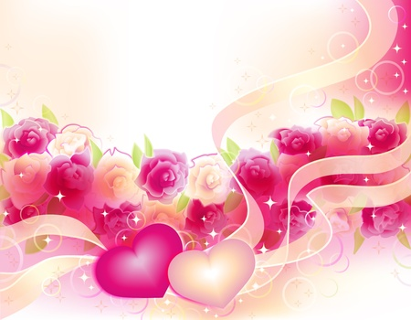 anniversary flower: Horizontall vector romantic background with roses and two hearts