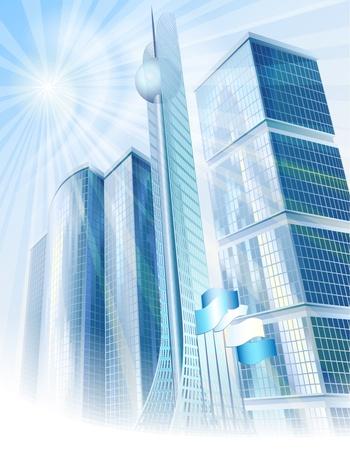 Moderni grattacieli e la torre alta nel paesaggio urbano astratto