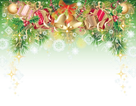 Green, gold and red background with christmas symbols - balls, bells, holly and gift box Stock Photo