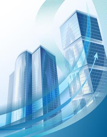 Bianco business moderno con paesaggio urbano astratto e freccia