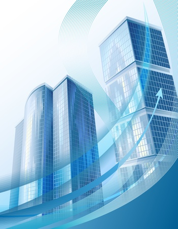 economic development: Modern business background with abstract cityscape and arrow Stock Photo