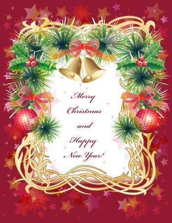 Oro e cartellino rosso di auguri di Natale con palline, campane, agrifoglio e orpello verde