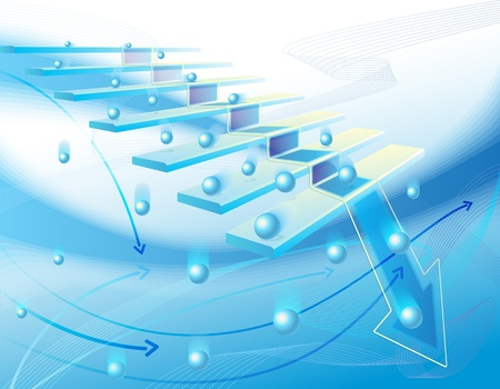 Business abstract illustration with stair,  blue arrows and  Stock Photo