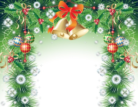 Christmas background with bells, balls, holly, and snowflakes Vector