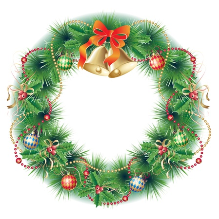 Christmas wreath with pine, bells, holly, balls and garland Vector