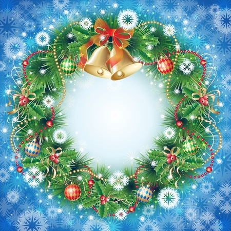 Christmas wreath with pine, bells, holly, balls and garland on background with snowflaces photo
