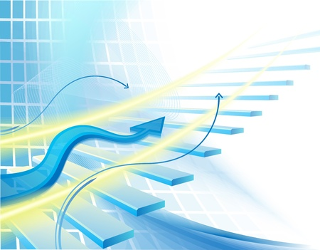 Background with stair and blue arrow Stock Photo - 11646007