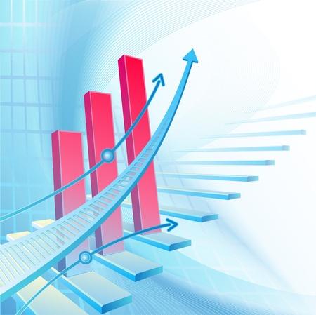 flecha azul: Fondo del negocio abstracto con la escalera y la flecha azul Foto de archivo