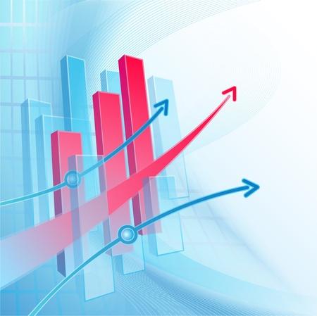 profiting: Blu e bianco sfondo astratto business con grafico e freccia rossa Archivio Fotografico
