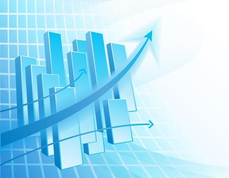 Blu e bianco sfondo astratto business con grafico e frecce