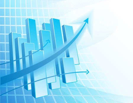 profitable: Blue and white abstract business background with chart and arrows Illustration
