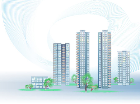 municipality: Vector illustration with five modern city buildings and trees
