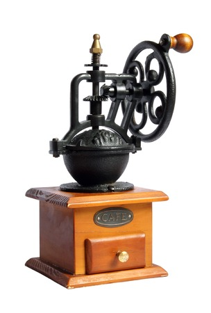 Old vintage coffee mill on white bacground