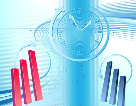 Sfondo astratto business con orologio e grafici
