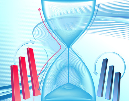 Abstract business background with clock and charts