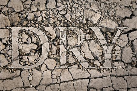 La parola scritta sul terreno secco secco