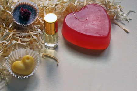 Natural handmade cosmetics and bottle of perfume