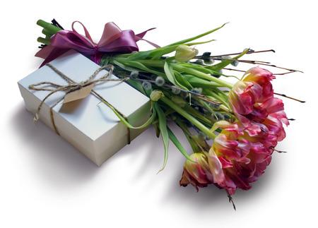 Bouquet di delicati tulipani rosa e contenitore con il regalo