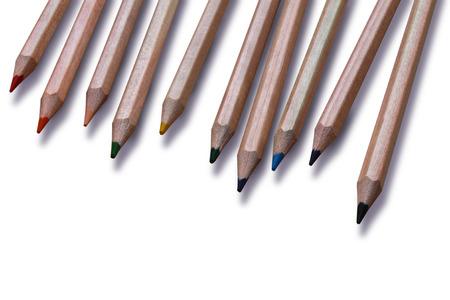 colour pencils: A set of ten colored pencils on white background