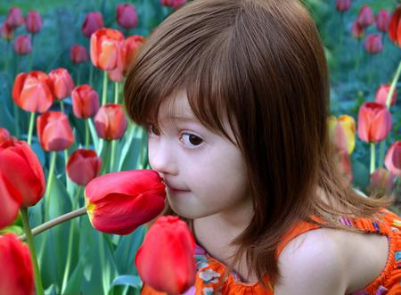 olfato: La niña se sienta entre tulipanes en flor y el olor de una flor de una de