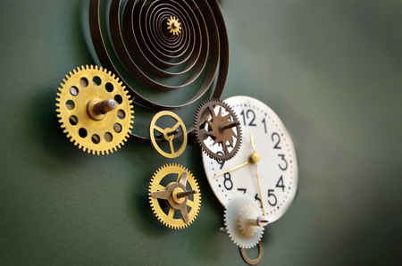 mechanisms: Abstract composition of old fashioned clocks and mechanisms