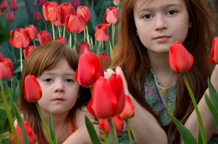 Two red-haired girls sit among flowering tulips Stock Photo