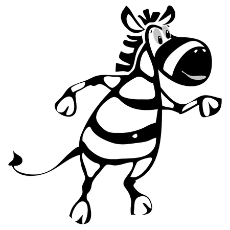 vector illustration of dancing cheerful zebra 스톡 콘텐츠